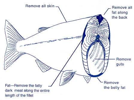Diagram for how to prepare fish by removing skin, fat, and guts