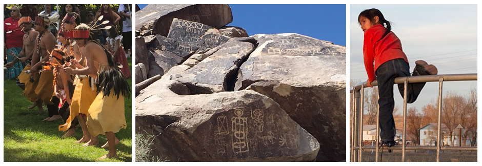 Picture of Native American dancers, petroglyphs, and a girl on a fence