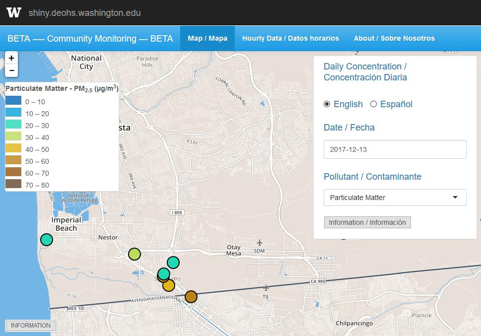 Map of San Ysidro Community Air Monitoring Study
