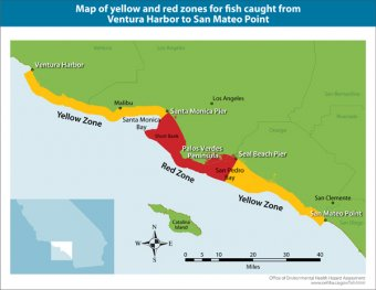 Advisory Map for fish from Ventura Harbor to San Mateo Point