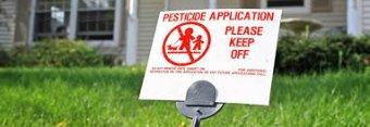 pesticide warning - keep off