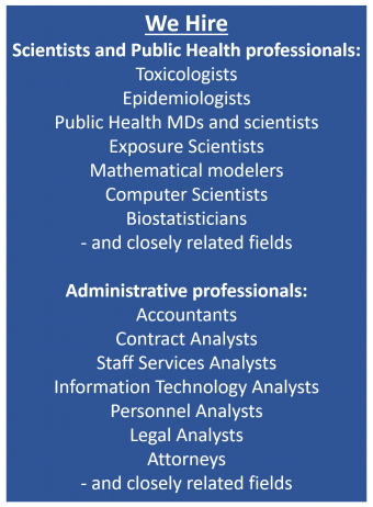 List of scientific and administrative professionals OEHHA hires